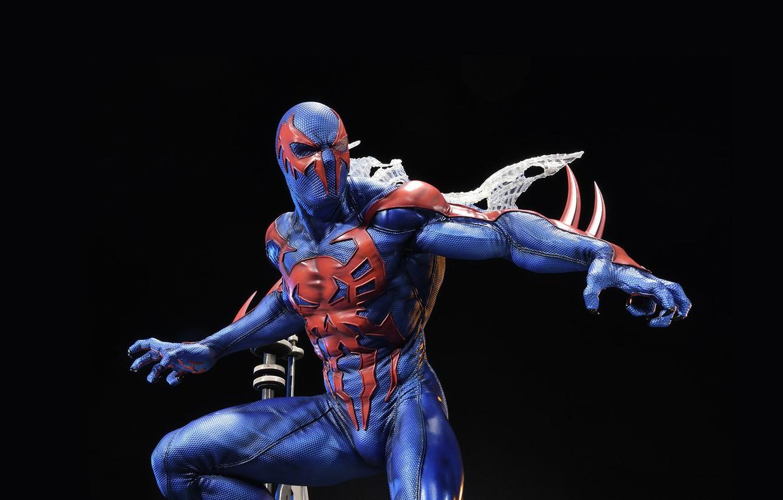 Фото обои костюм, чёрный фон, suit, Мигель О'Хара, spider-man 2099, человек-паук 2099