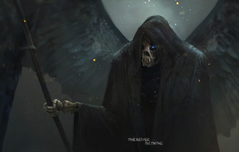Фото обои смерть, череп, art, в капюшоне, жнец, горящий глаз, черные крылья, саван, Max Duran