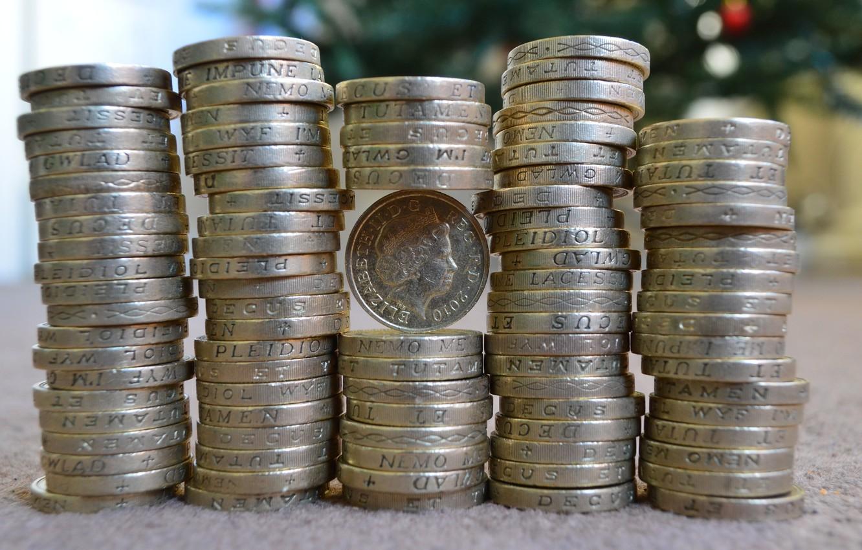 Фото обои деньги, стопка, монеты