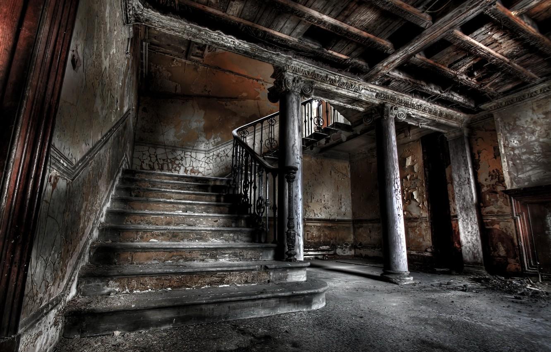 Фото обои дом, лестница, колонны
