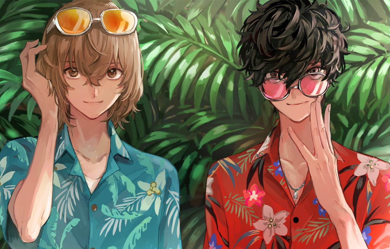 Фото обои зелень, тропики, игра, аниме, арт, парни, персонажи, Persona 5, Персона 5