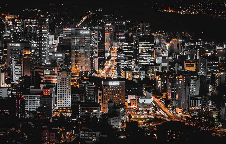 Фото обои ночь, город, Сеул