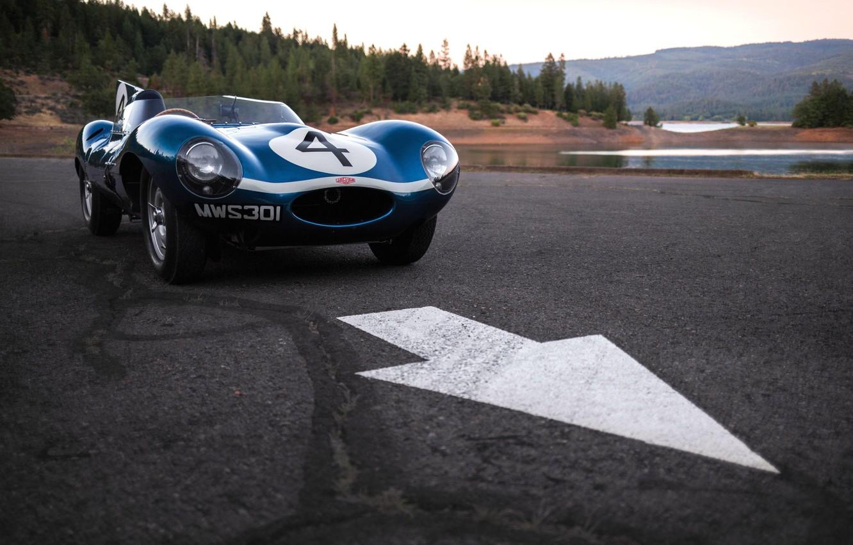 Фото обои асфальт, озеро, автомобиль, Race car, Jaguar D-Type