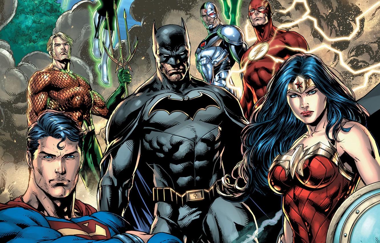 Фото обои fantasy, Wonder Woman, Batman, comics, Superman, artwork, mask, superheroes, costume, fantasy art, DC Comics, Cyborg, …