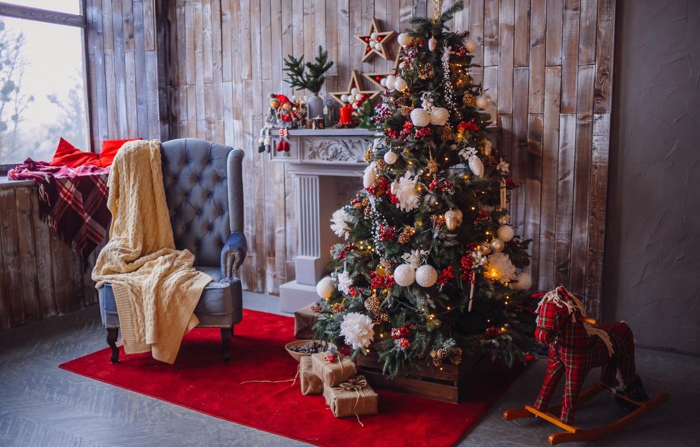 Фото обои украшения, шары, елка, Новый Год, Рождество, подарки, Christmas, balls, design, New Year, gift, room, interior, …
