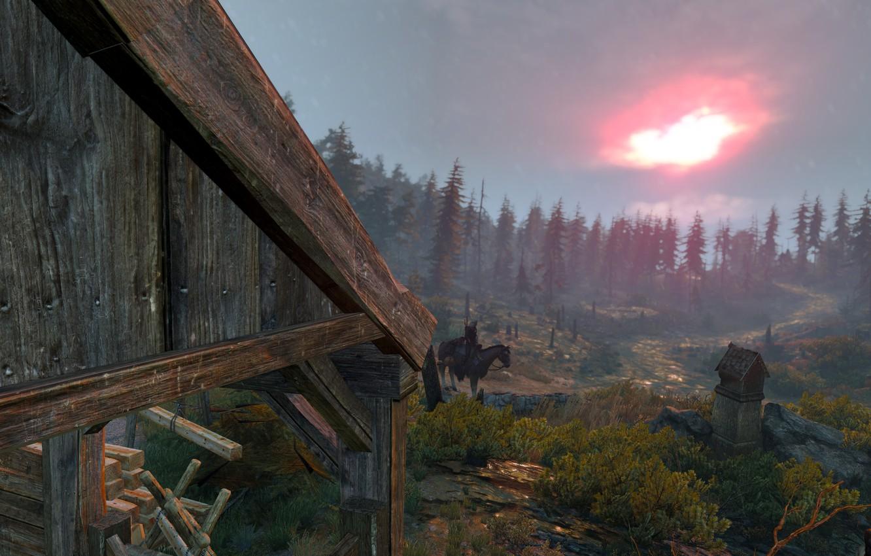 Фото обои Дождь, The wicther 3, Geralt from Rivia, Малиновый закат