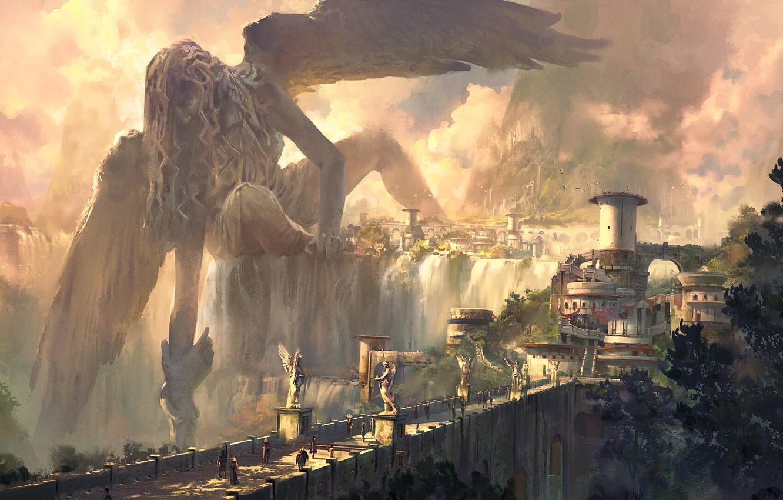 Фото обои девушка, мост, водопад, крылья, ангел, фэнтези, арт, статуя