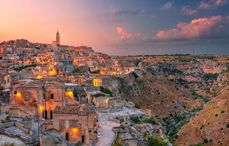 Фото обои здания, дома, Италия, Italy, Matera, Базиликата, Матера, Basilicata