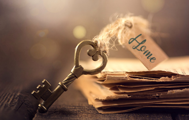 Фото обои макро, бумага, доски, ключ, листы, боке, бирка