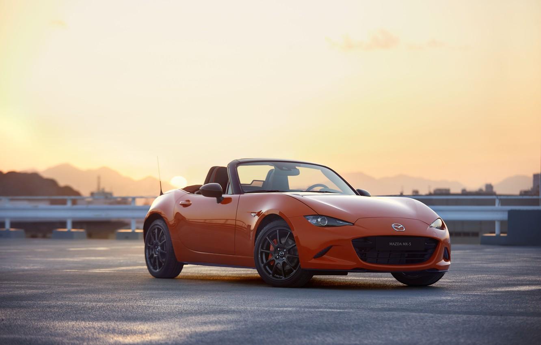 Фото обои машина, солнце, горы, Mazda, MX-5, 30th Anniversary Edition, 2020