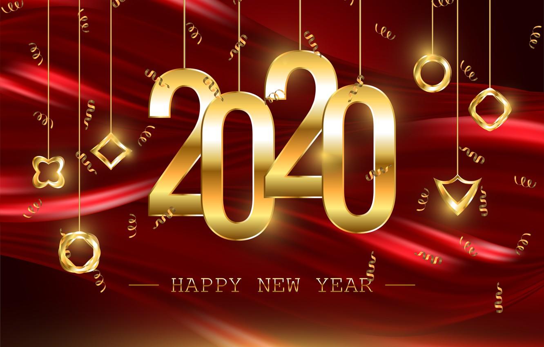 Фото обои украшения, цифры, Новый год, 2020