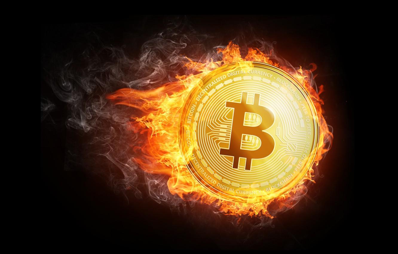 Фото обои огонь, пламя, дым, fire, монета, fon, coin, bitcoin, биткоин