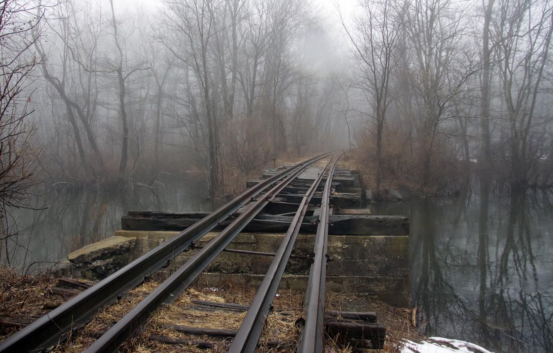 Обои железная дорога, туман, мост. Разное foto 6