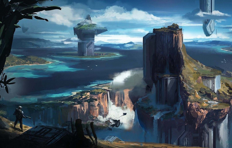 Фото обои небо, облака, будущее, река, водопад, future, простор, space, иной мир, river, sky, clouds, waterfall, fantasy …