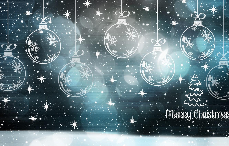 Фото обои шарики, снежинки, новый год, рождество