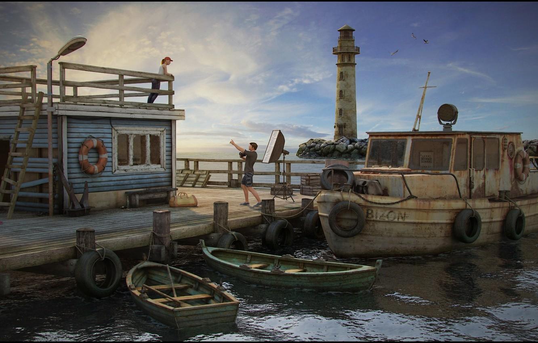 Фото обои маяк, лодки, катер, шины, Pier