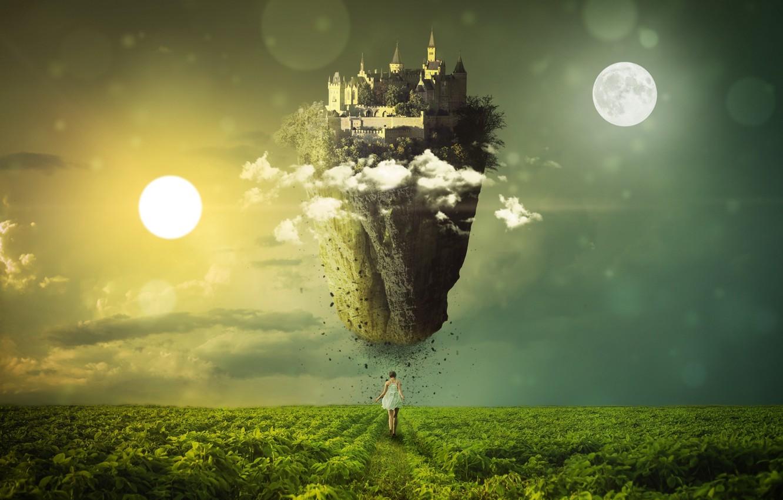 Фото обои дорога, поле, dream, луна, сон, красота, простор, space, moon, road, field, beauty, fantasy art, замок …