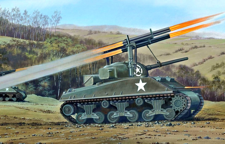 Фото обои US Army, РСЗО, WWII, M4A3 Sherman, Sherman Calliope, T34 Rocket Launcher