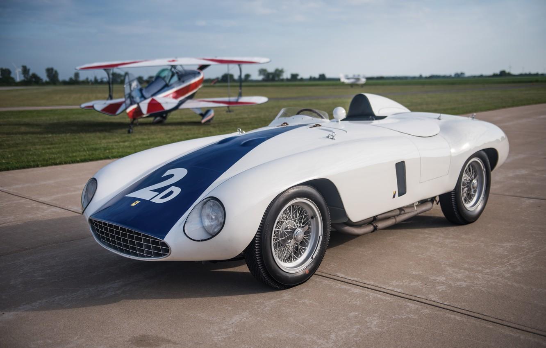 Фото обои Самолет, Биплан, Спицы, Ferrari, Classic, Classic car, 1955, Sports car, Ferrari 750 Monza Spyder