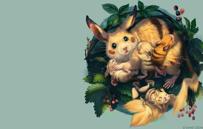 Фото обои арт, гнездо, пикачу, малыши, покемон, десткая, Diane ÖZDAMAR, A nest of Pikachu