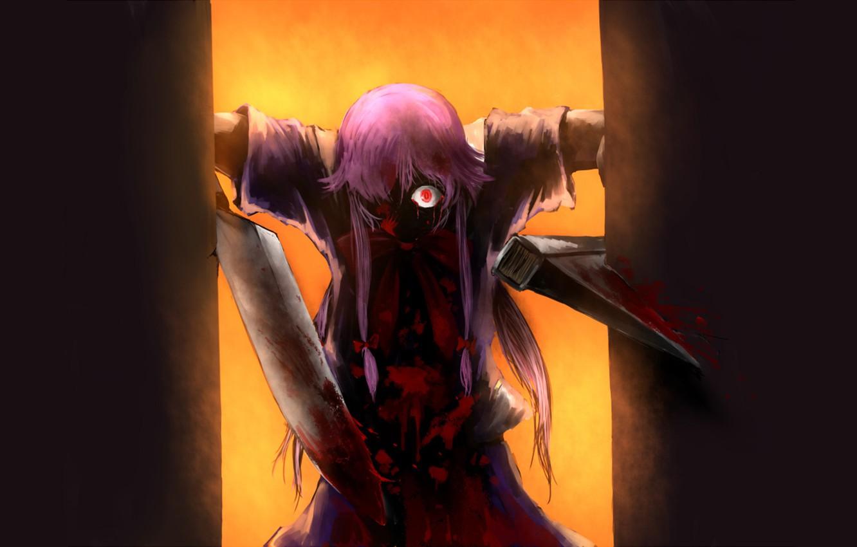 Фото обои монстр, нож, ужас, безумие, Mirai Nikki, Дневник будущего, горящий глаз, брызги крови, Yuno Gasai, одержимая, …