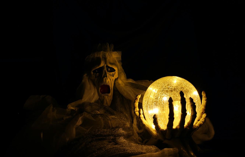 Фото обои тьма, праздник, шар, призрак, ужас, хэллоуин, halloween
