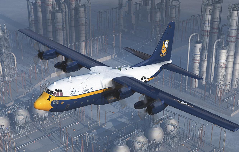 Фото обои самолет, завод, арт, Lockheed, военно-транспортный, Hercules, Blue Angels, Marines, C-130, КМП США