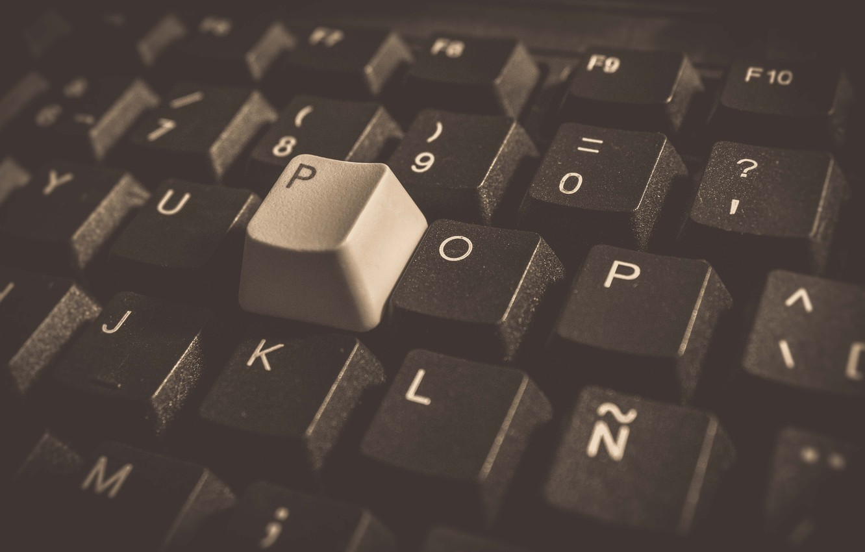 Фото обои Wallpaper, Monochrome, Macro, Keyboard, Computer