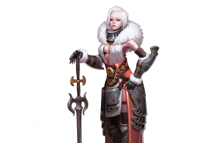 Фото обои Girl, Art, Queen, White, Minimalism, Sword, Characters, Armor, CHOI kwangsoon, Queen of the snowy