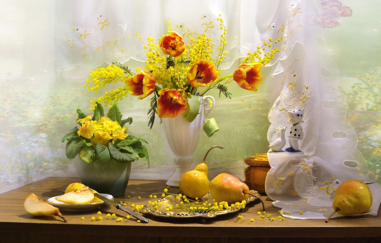 Фото обои цветы, стол, тарелка, нож, тюльпаны, ваза, фрукты, натюрморт, груши, блюдо, мимоза, примула, Валентина Колова