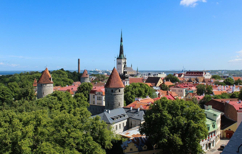 Фото обои Эстония, Таллин, панорама, крепость