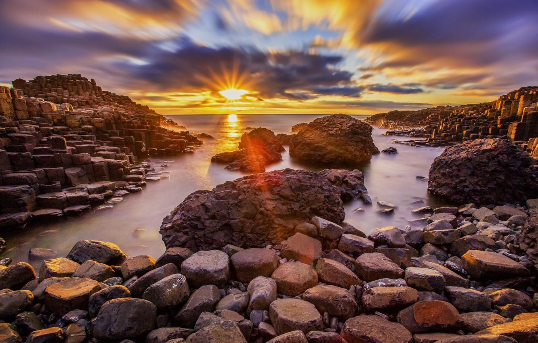 Фото обои закат, камни, побережье, Ирландия, Мойл