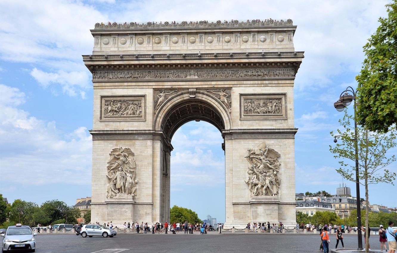 Фото обои Париж, Арка, люди.