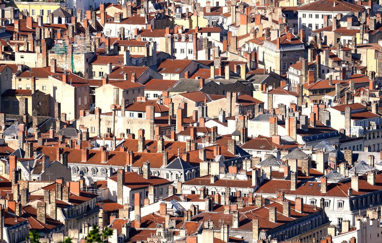 Фото обои город, дома, Lyon, Roofs