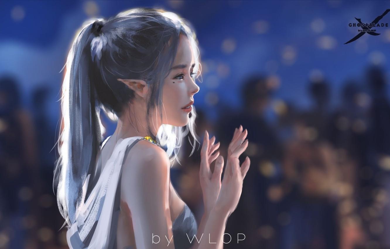 Фото обои girl, fantasy, dress, blue eyes, ponytail, elf, digital art, artwork, fantasy art, fantasy girl, bare …