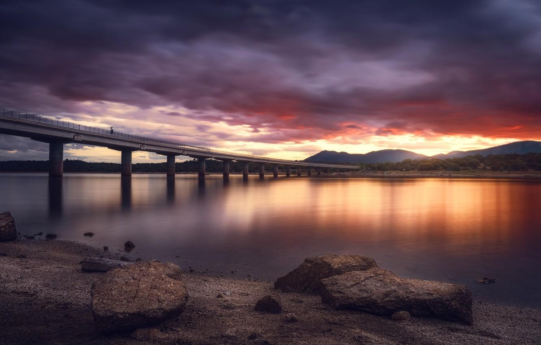 Фото обои закат, мост, Madrid, Colmenarejo