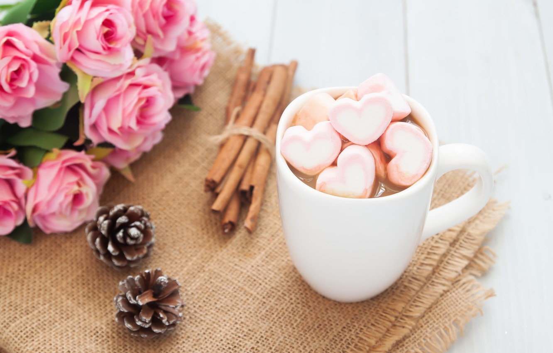 Фото обои розы, букет, чашка, сердечки, wood, pink, cup, romantic, hearts, valentine's day, какао, roses, hot chocolate, …