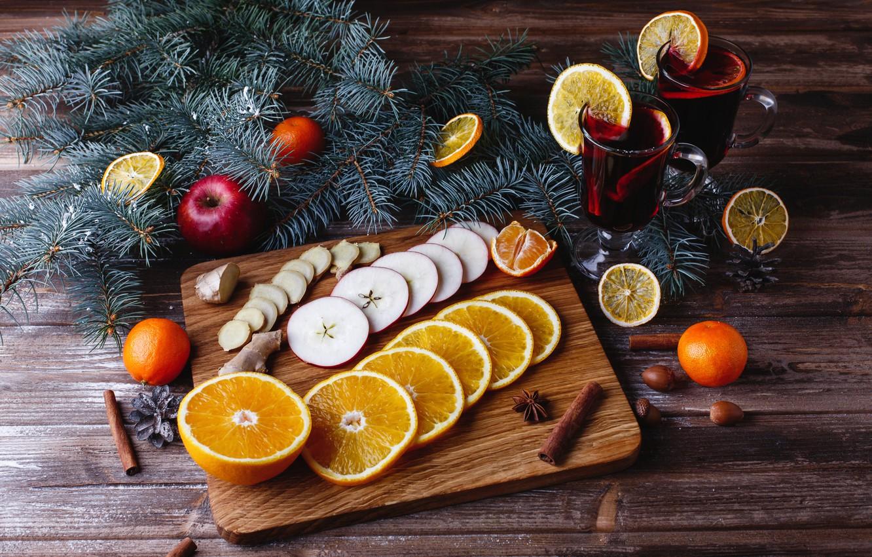 Фото обои украшения, апельсины, Новый Год, Рождество, Christmas, wood, fruit, orange, New Year, мандарины, decoration, tangerine, Merry, …