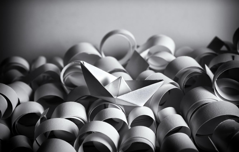 Фото обои море, бумага, кораблик, оригами