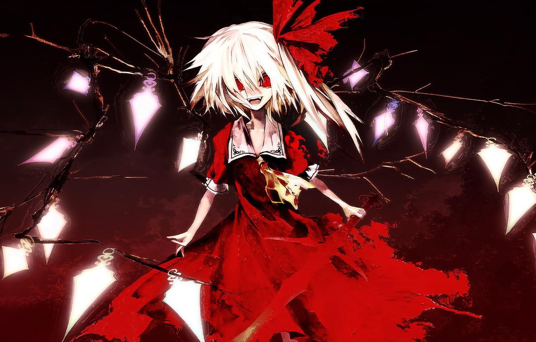 Фото обои тьма, красные глаза, малышка, art, вампирша, Touhou Project, черная магия, Flandre Scarlet, адская ухмылка, Akira …