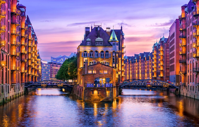 Обои ночной город, германия, каналы, гамбург, speicherstadt, здания, Hamburg, шпайхерштадт, мосты, Germany. Города foto 18