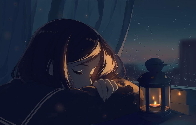 Фото обои девушка, ночь, спит, фонарик