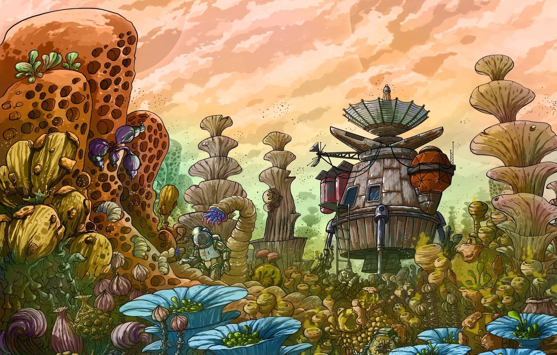 Фото обои красота, растения, волшебный мир, spaceship, космический корабль, beauty, plants, fantasy art, another planet, другая планета, …