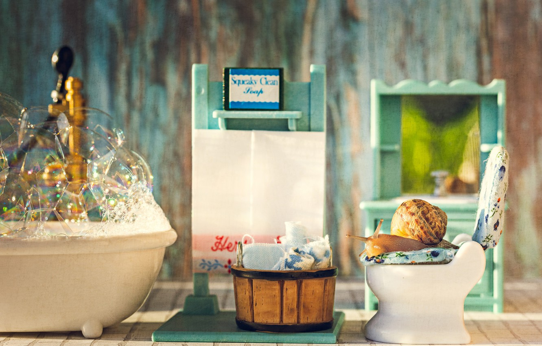 Фото обои пена, макро, пузыри, корзина, улитка, купание, ванна, туалет, полотенца, унитаз, игрушечная, ванная комната, уход за …