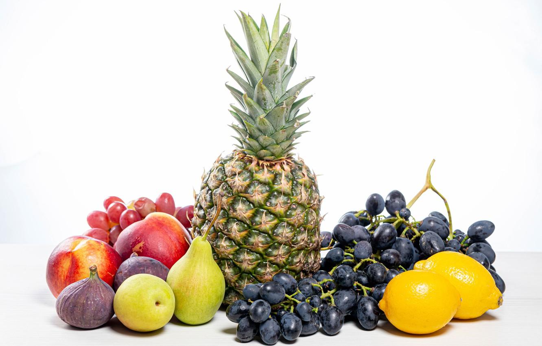 Фото обои яблоки, виноград, белый фон, фрукты, ананас, груши, лимоны, инжир