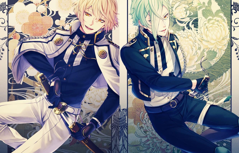Фото обои катана, перчатки, военная форма, погоны, ножны, челка, два парня, цветочный узор, аксельбант, Touken Ranbu, Higekiri, …