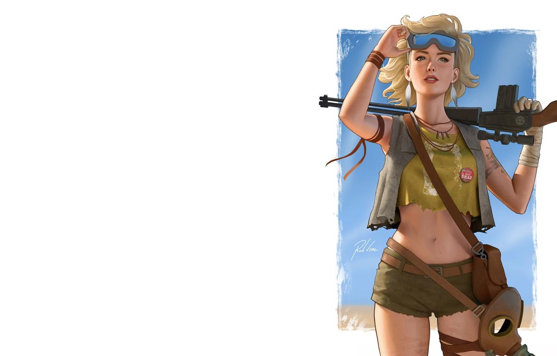 Фото обои девушка, оружие, арт, Rob Vital, Wasteland girl v2.1