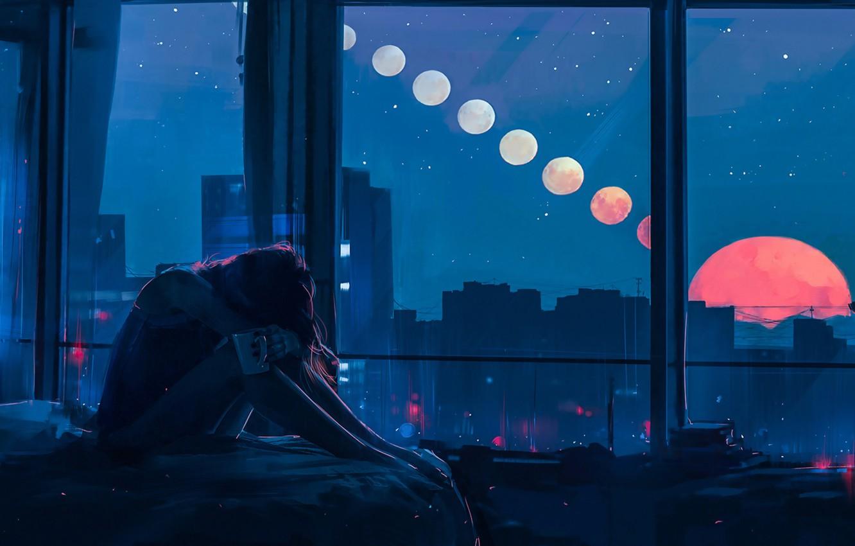 Фото обои Девушка, Ночь, Рисунок, Луна, Окна, Alena Aenami, by Alena Aenami, Aenami Art