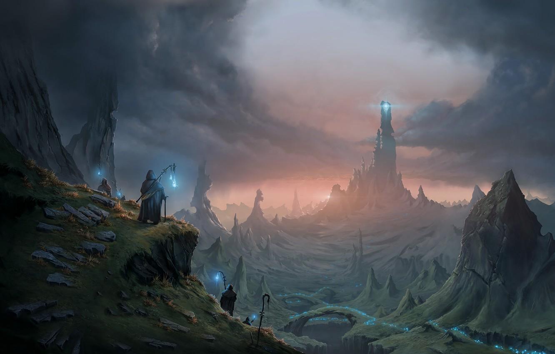 Фото обои fantasy, magic, tower, landscape, artist, digital art, artwork, fantasy art, cane, cape, fantasy landscape, Mikael …