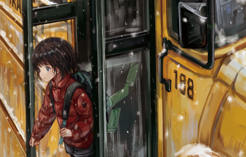 Фото обои арт, девочка, школьный автобус
